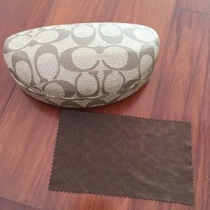 COACH sunglasses glasses case brown with cloth